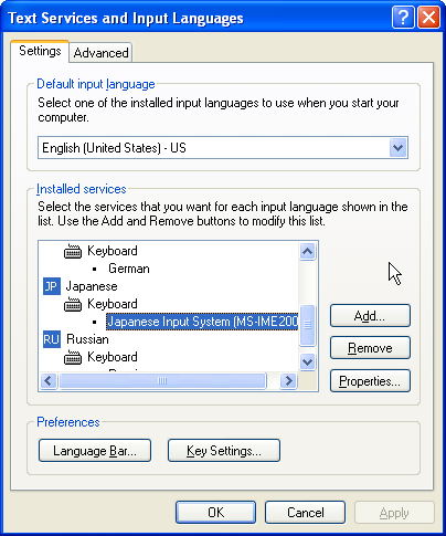 The Text Services and Input Languages dialog box
